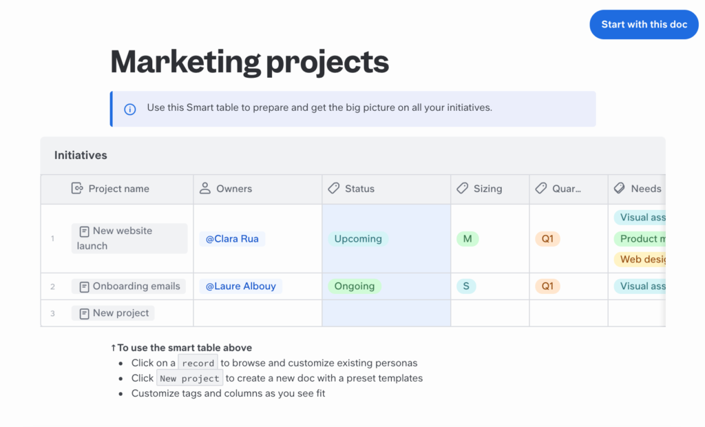 Airtable Marketing Projects